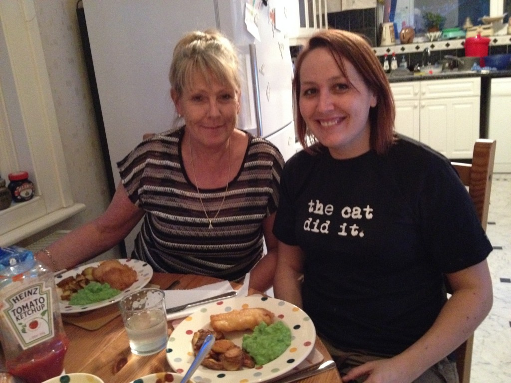 Mum and me with fish and chips
