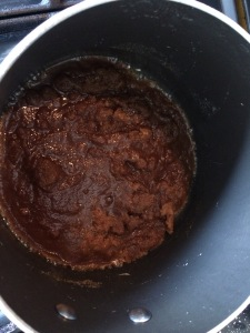 Salted caramel mixture before cream added