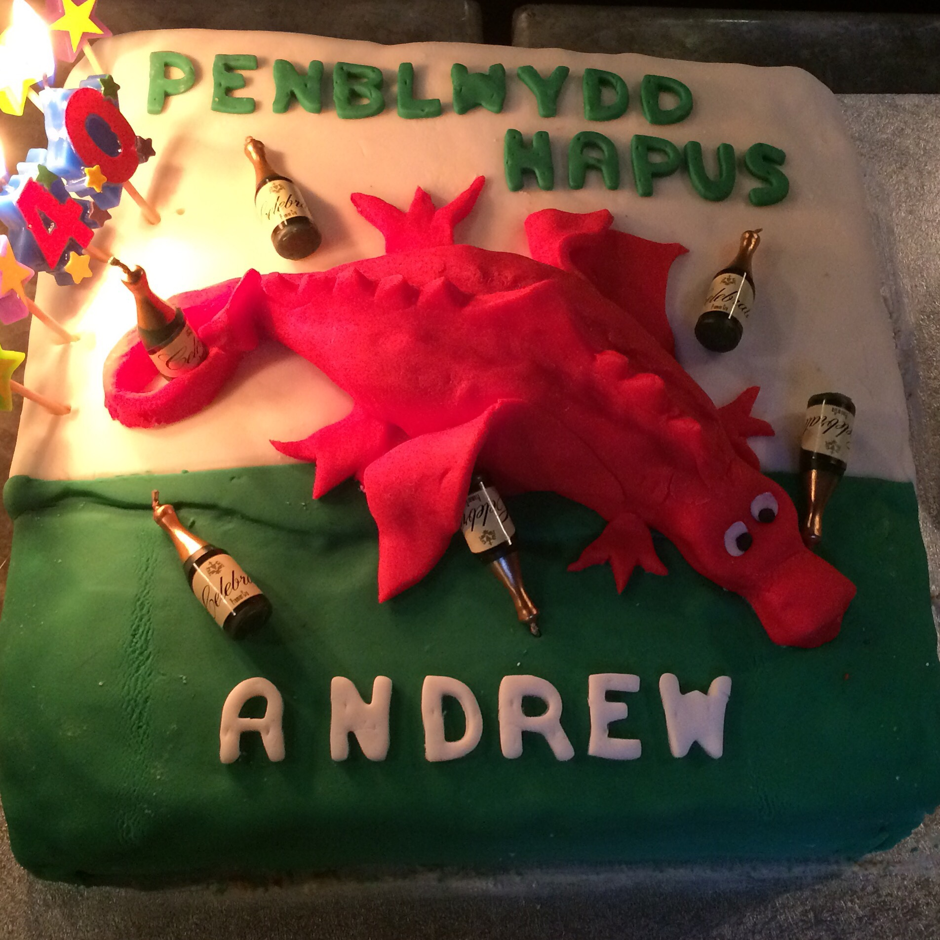 40th Birthday Cake Drunken Welsh Dragon Vanilla