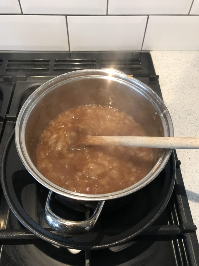 Onions with stock added