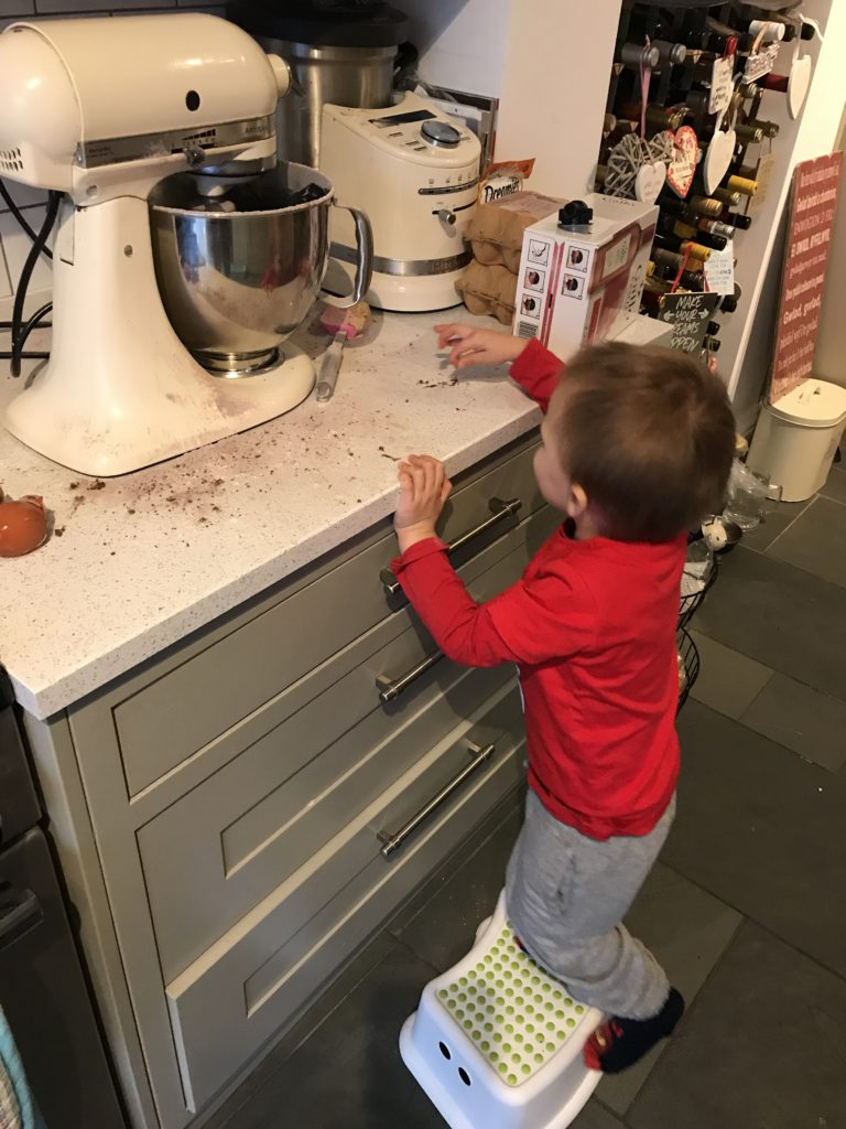 Ioan makes a mess with the food mixer