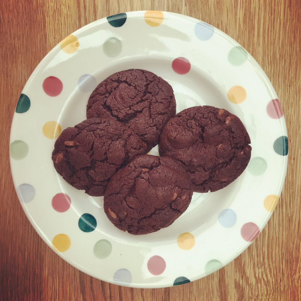 Plate of double chocolate cookies
