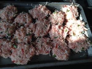Pork patties before cooking