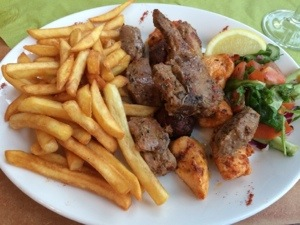Mixed kebab and chips