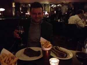 Andrew with his steak and bones!