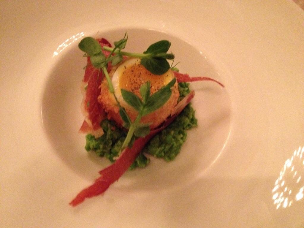 Ham egg and peas