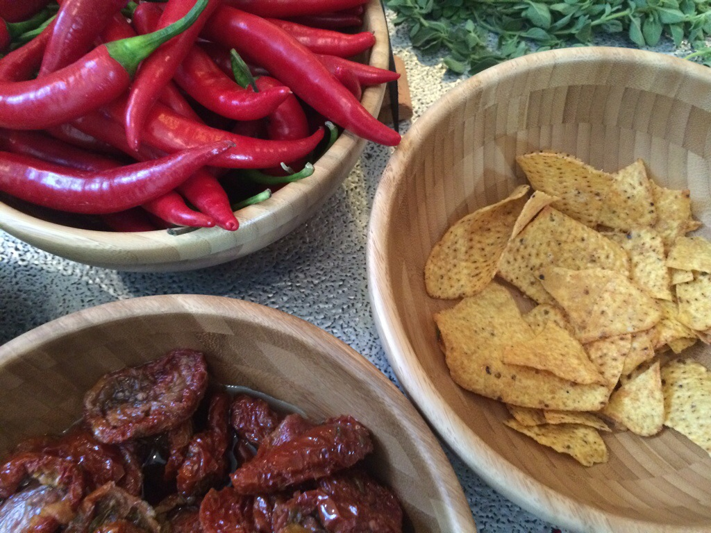 Sundried tomato an chilli tortillas