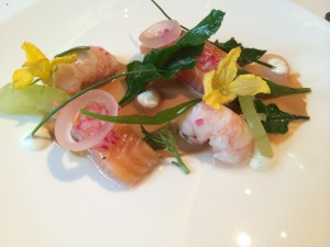 Langoustines and salmon