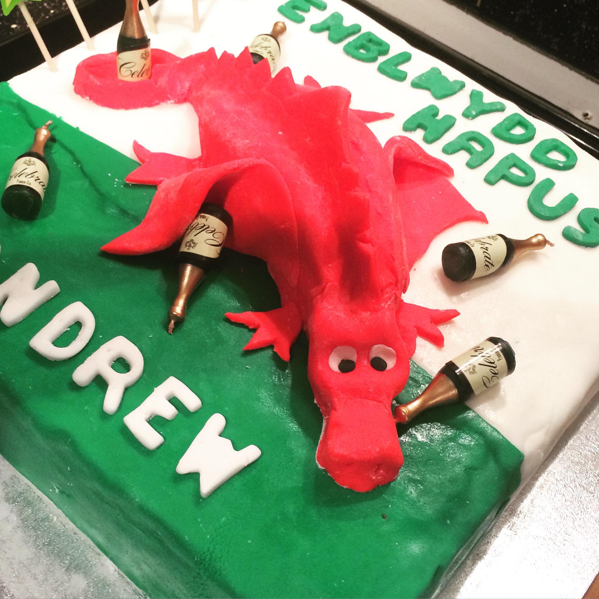 Pleasant 40Th Birthday Cake Drunken Welsh Dragon Vanilla Cake Its Not Funny Birthday Cards Online Alyptdamsfinfo