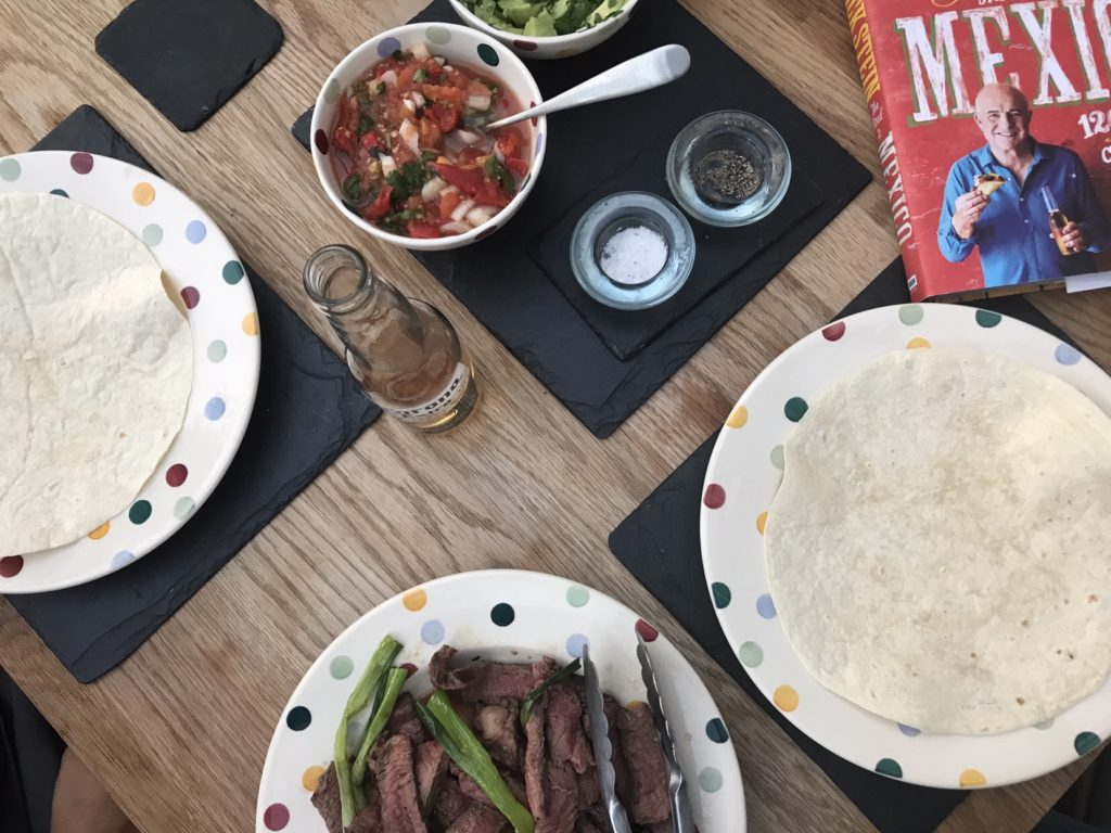 Beef tortilla and accompaniments