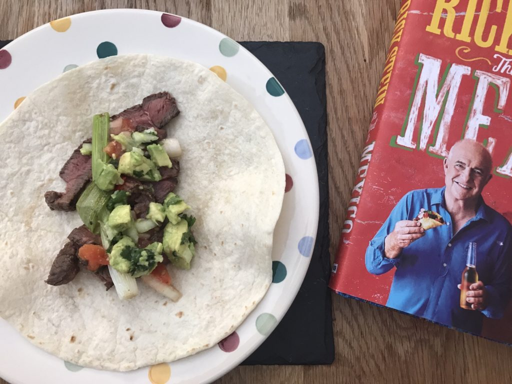 beef tortilla and book
