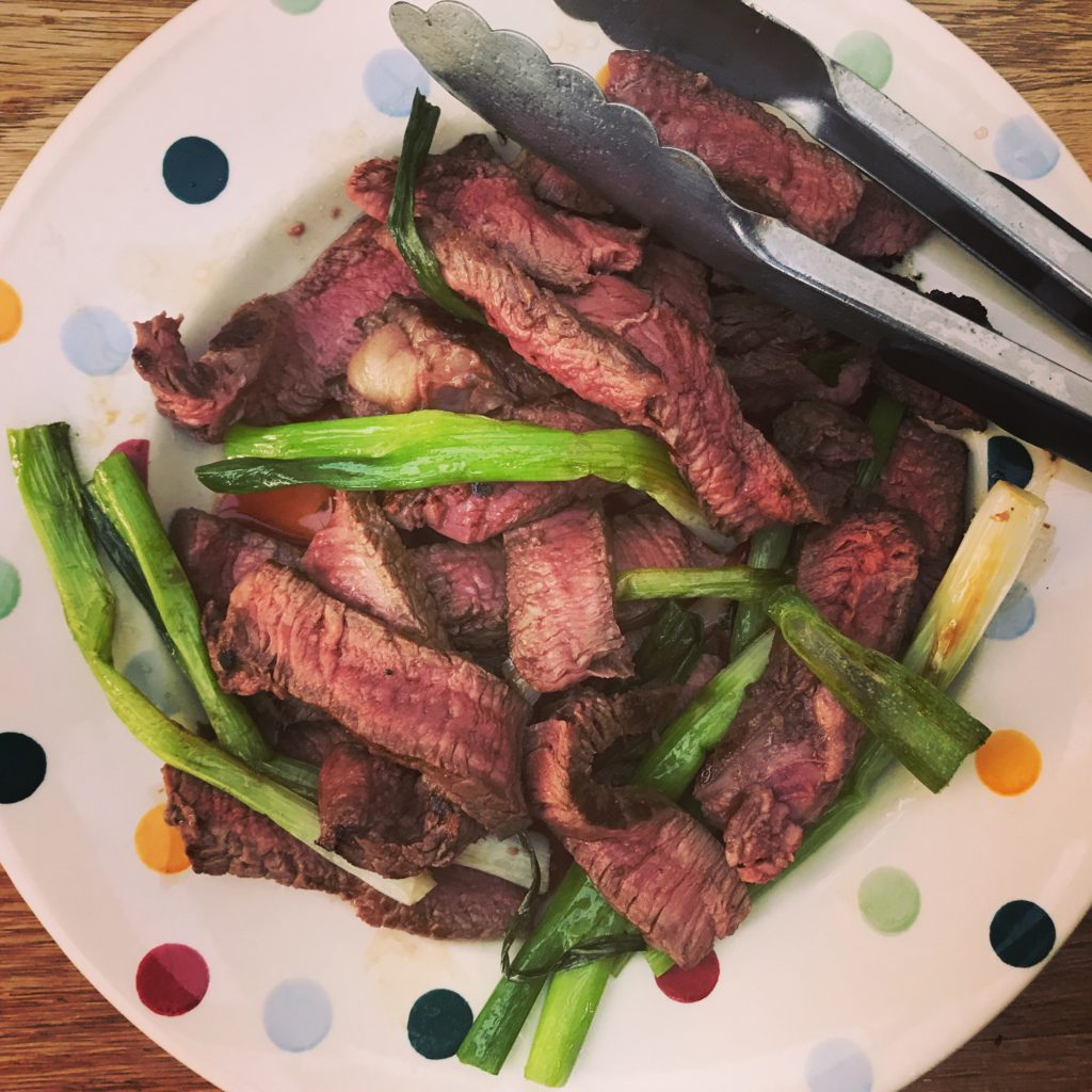 beef and spring onions