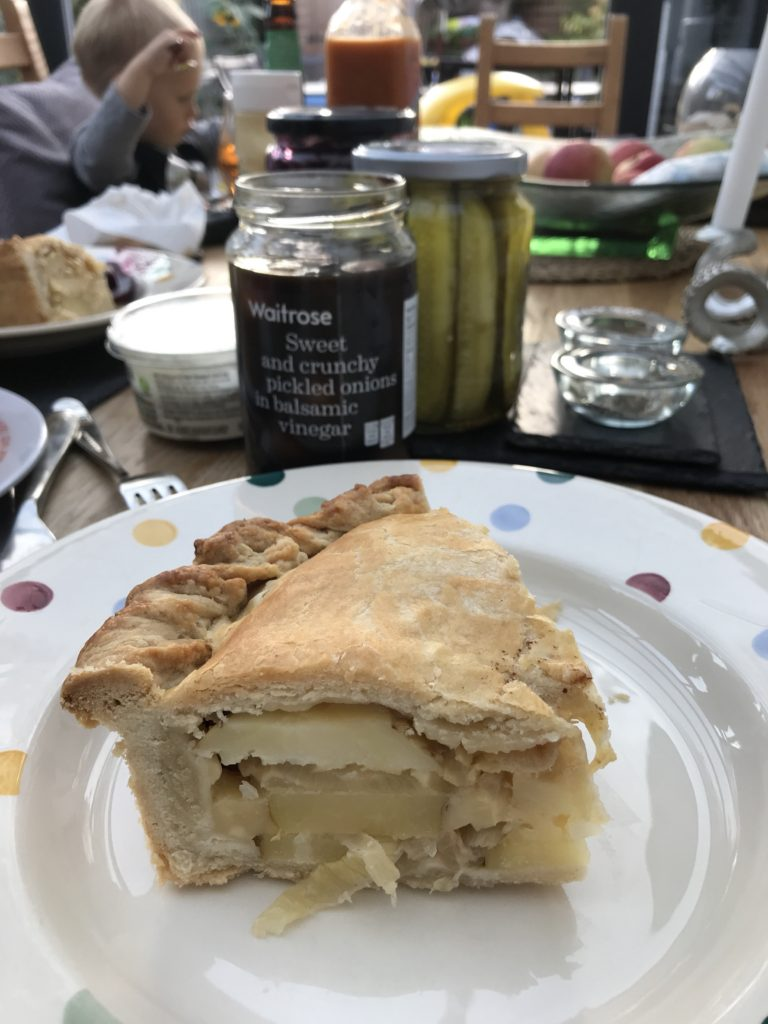 cheese and potato pie with pickles