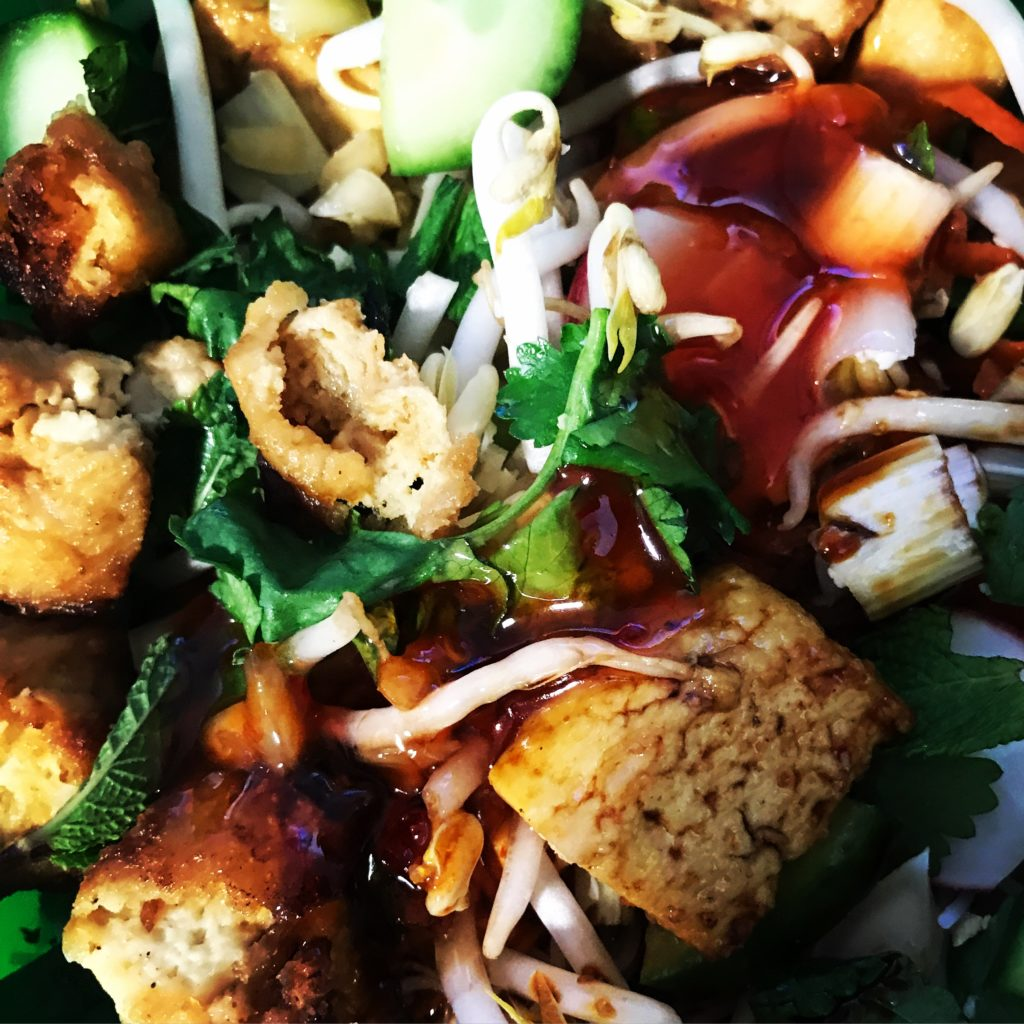 South East Asian inspired tofu noodle salad close up