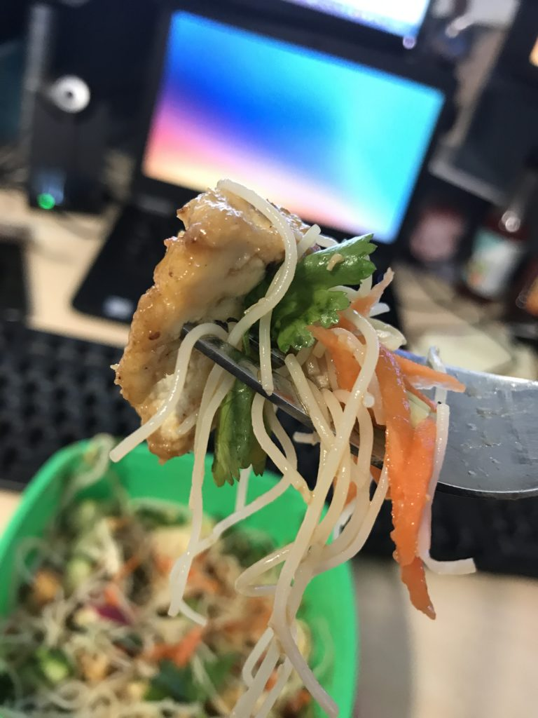 South East Asian inspired tofu noodle salad forkful