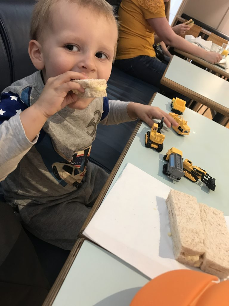 Ioan eating sandwiches