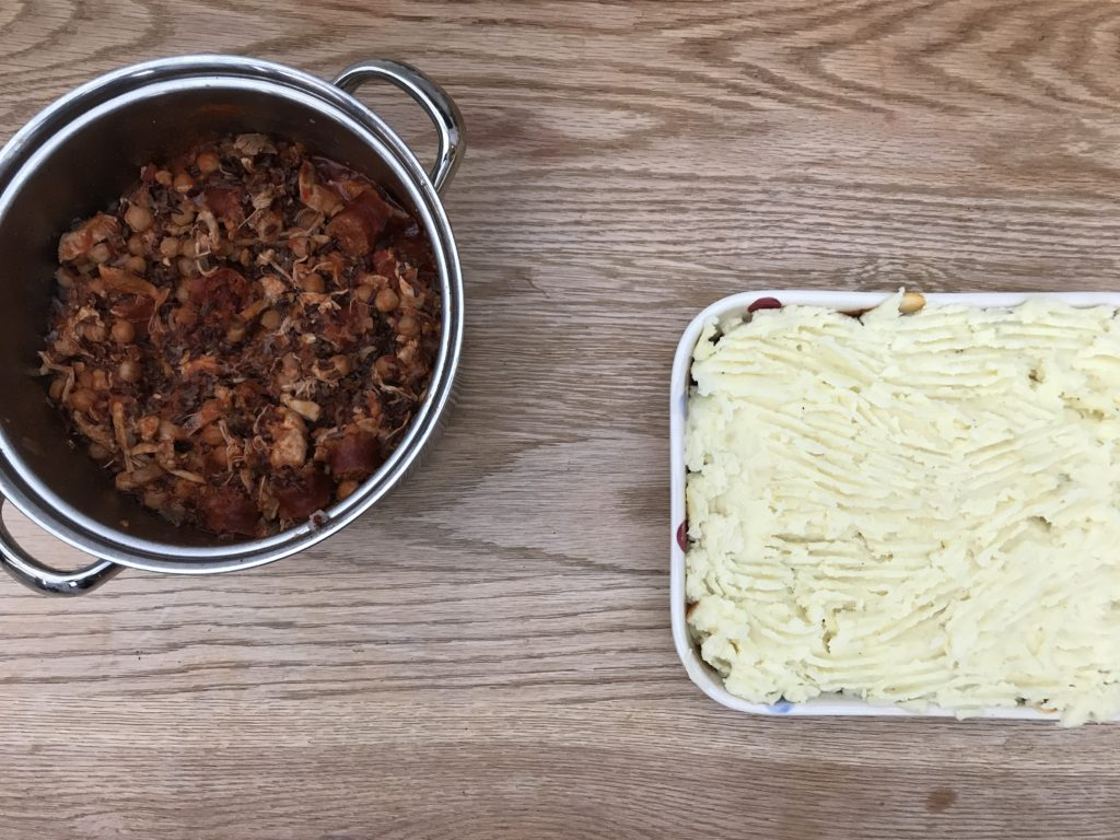 Chicken and chorizo stew and shepherds pie