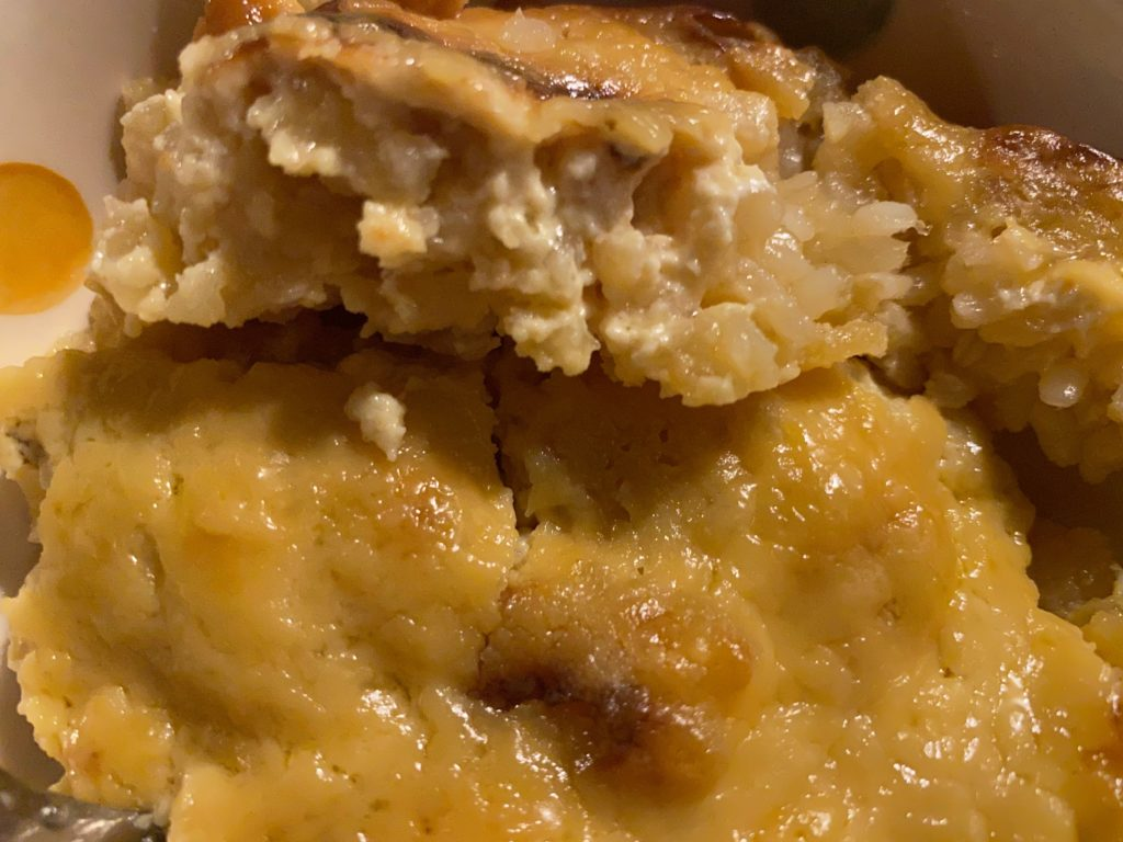 Baked rice pudding close up