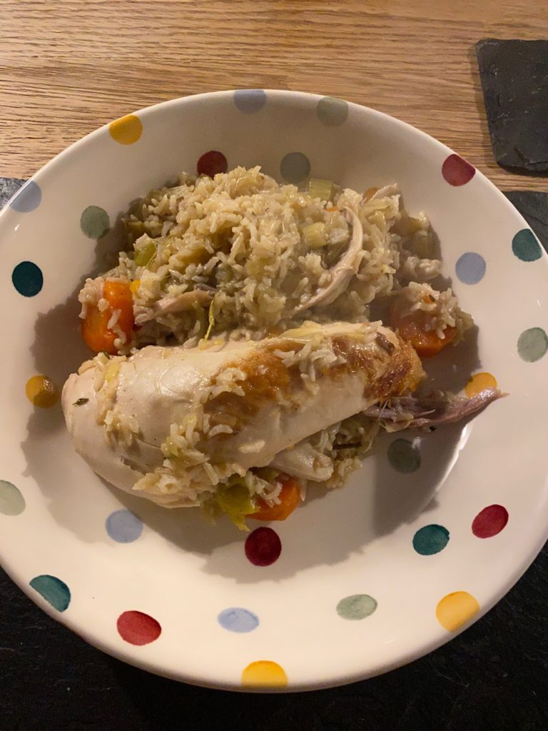 poule au riz on the plate