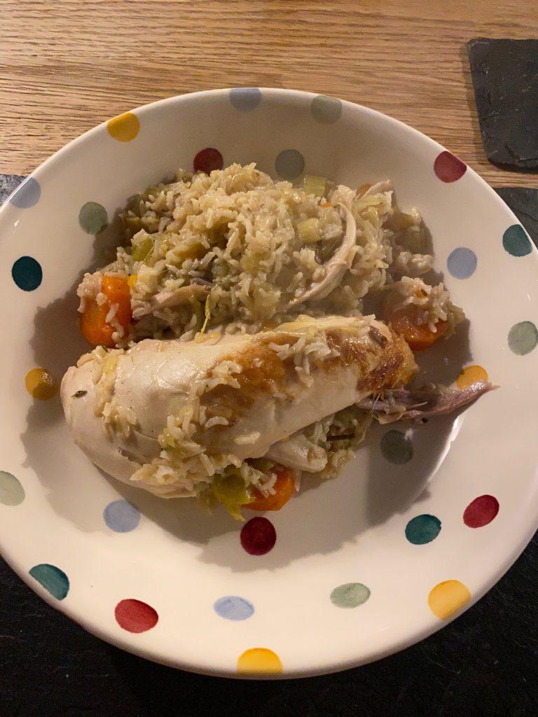 poule au riz on the plate