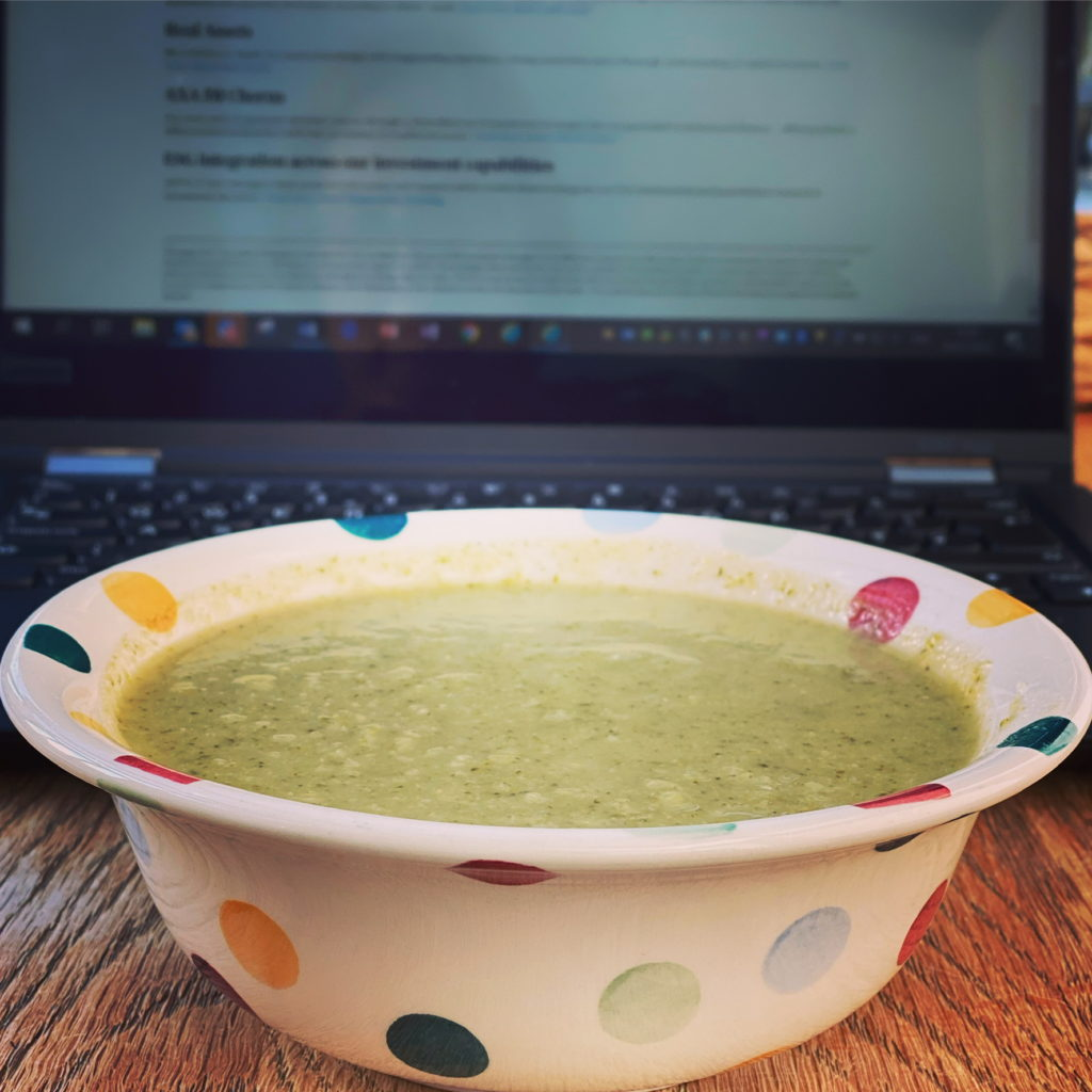 Broccoli soup working lunch