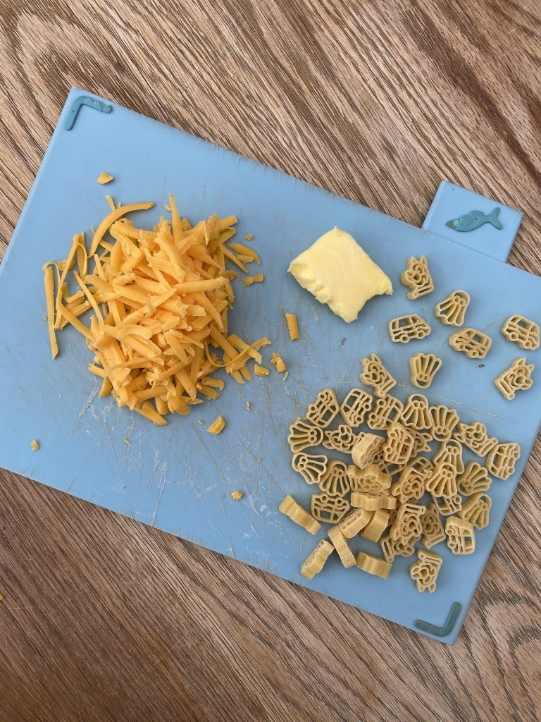 Pasta ingredients on a chopping board