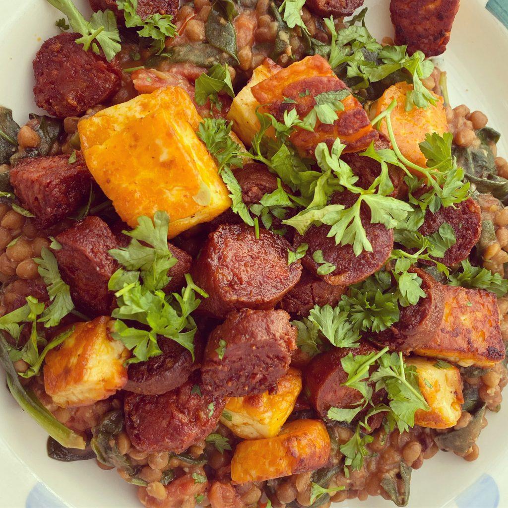 Chorizo, halloumi, lentils