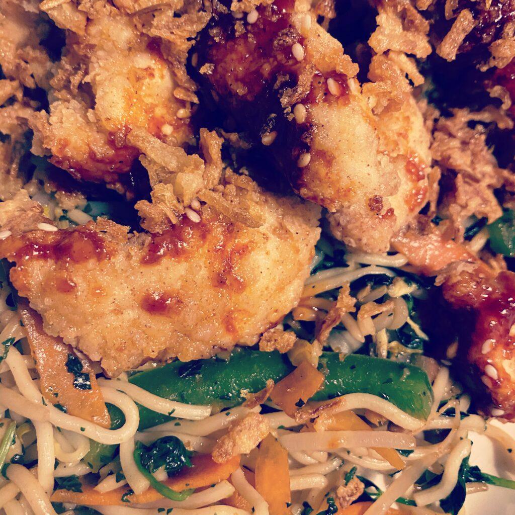 Close up Korean crispy chicken