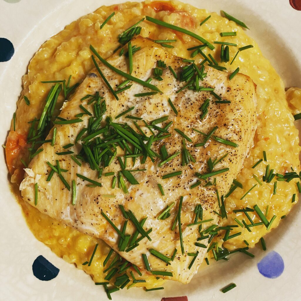 Salmon with tomato risotto