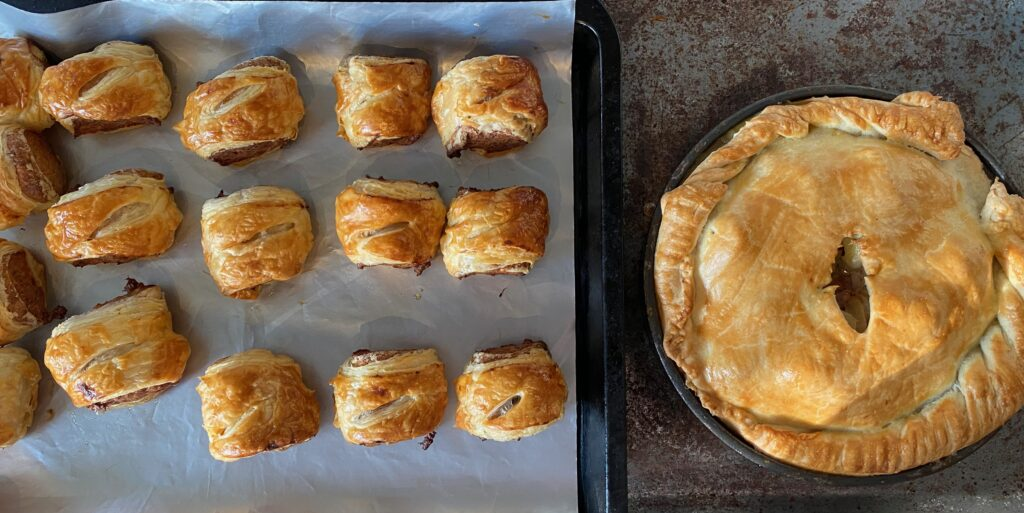 Welsh corned beef pie and sausage rolls