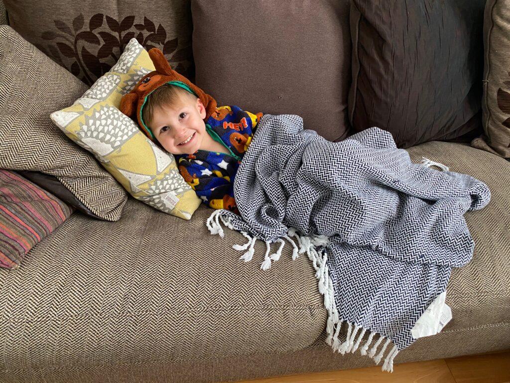 ioan relaxing on sofa